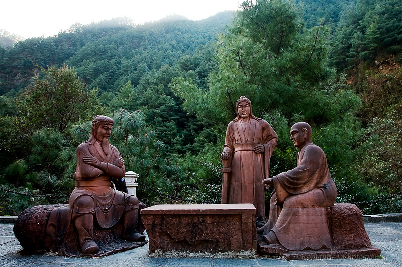 There is a legend about gods playing chess on the mountain. This life-size statue commemorates that.