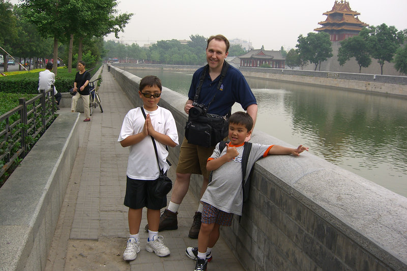 By the moat near the Forbidden City.