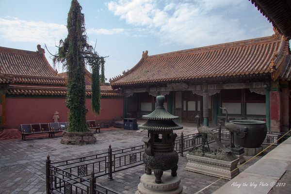 China-1385<br /> Courtyard in royal residence where members of the royal court lived in the Forbidden City in Beijing.