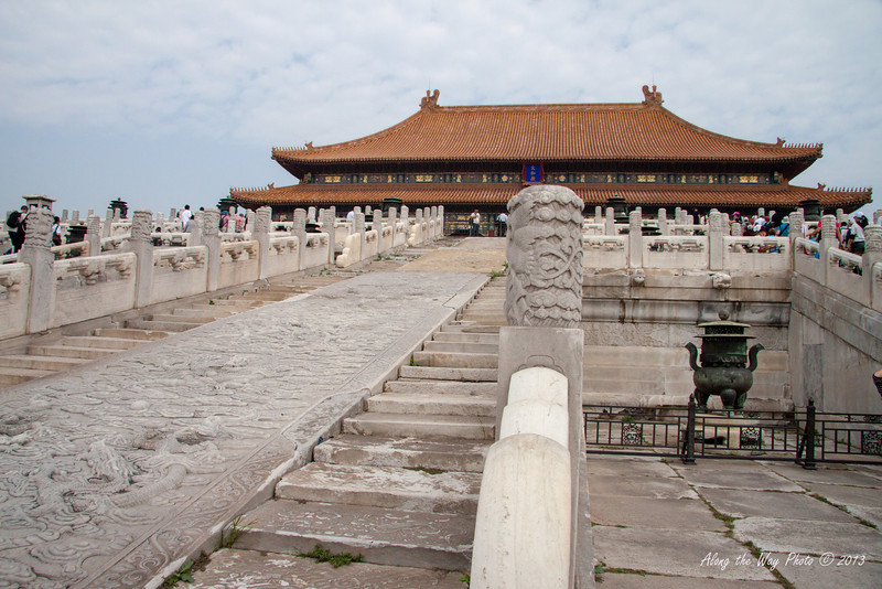 China-1323<br /> Looking up the stairs to the Gate of Supreme Harmony in the Forbidden City in Beijing.