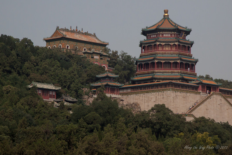 China-1492<br /> View of the Front Hill Area with the Tower of Buddhist Incense from the Lake in the Summer Palace in Beijing, China.