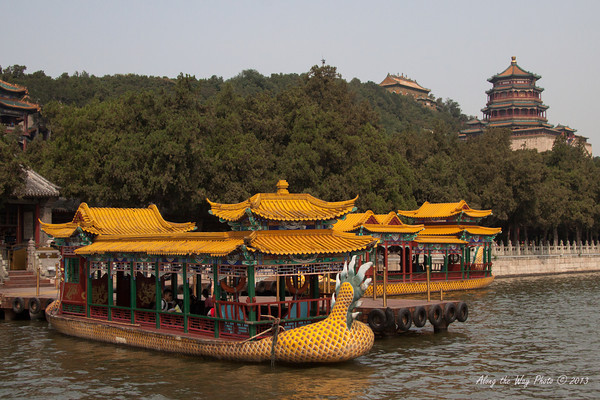 China-1489<br /> Docking area on the Kunming Lake with the Front Hill Area in the background.