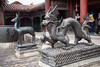 China-1396<br /> Statutes in a courtyard in the Forbidden City in Beijing.