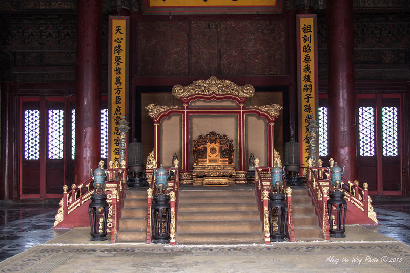 China-1348<br /> The Throne room in the Hall of Supreme Harmony used for important ceremonies in the Ming and Qing Dynasties.