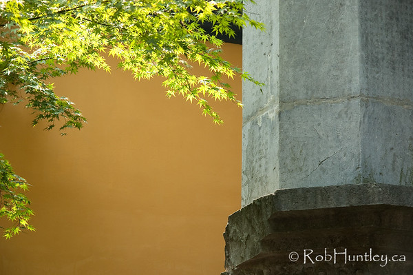 Japanese Maple adds colour next to a pillar at a temple near Hangzhou, China. © Rob Huntley