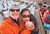 Teaching Cindy, our guide,the loon call.  Waiting for Impressions of Lijiang show to begin.