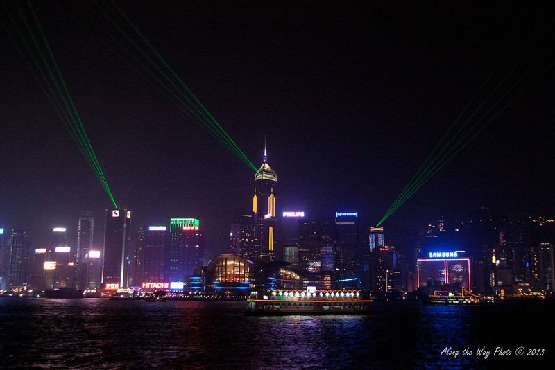 China-4019<br /> Hong Kong has a night show with lights and music. The lights on the buildings are choreographed with music. The program takes place every night with the audience on the Kaloon side of the harbor watching the show. 44 skyscrapers and buildings take part in the show, making it the largest light and music show in the world.