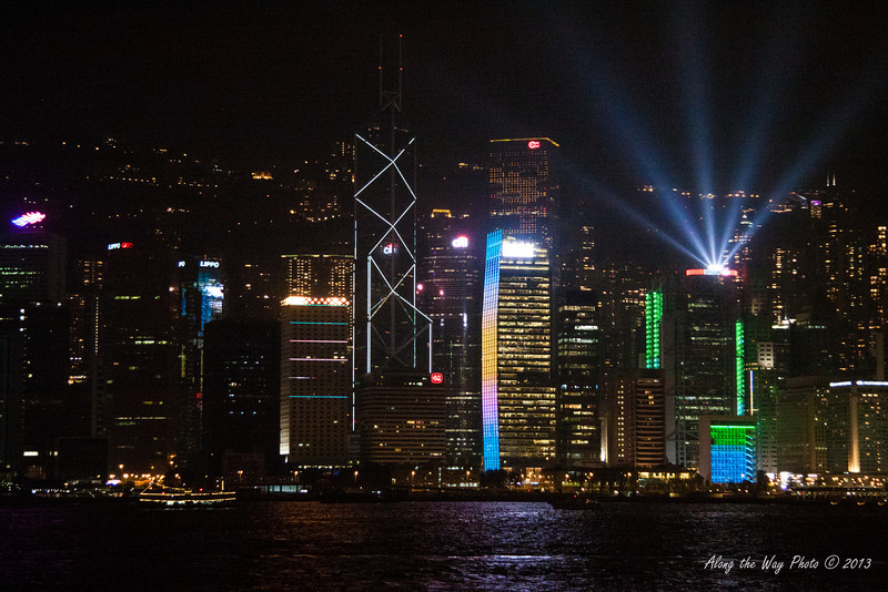 China-4005<br /> Hong Kong has a night show with lights and music. The lights on the buildings are choreographed with music. The program takes place every night with the audience on the Kaloon side of the harbor watching the show.44 skyscrapers and buildings take part in the show, making it the largest light and music show in the world.