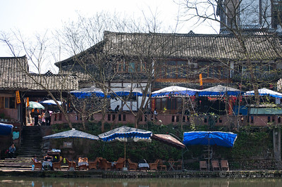 Pingle ancient town - river side tea house
