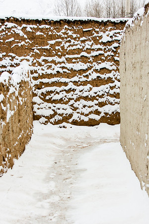 One of the many newly snow dusted paths within Rongwo Monastery.