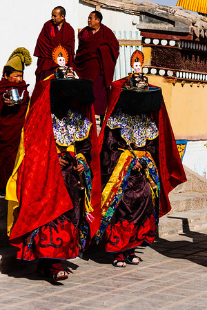 Shanags, or the Magicians, represent the legend of Pelgyi Dorje, a monk who dressed as a Bon magician, assassinated King Lang Darma who sought to banish Buddhism from Tibet.