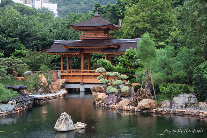 China-4079<br /> Pond and bridge in the Nan Lian Gardens in the Chi Lin Nunnery Complex in Kowloon, Hong Kong.