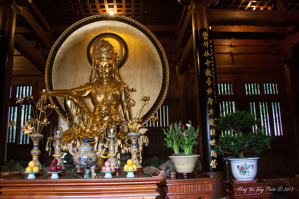 China-4056<br /> Buddhist Statute in the Hall of Celestial Kings in the Chi Lin Nunnery complex in Kowloon, Hong Kong.