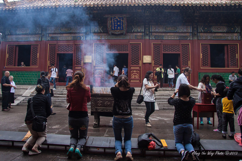 China-1790<br /> Burning Incense and praying at the Yonghe Temple.