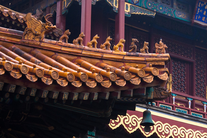 China-1821<br /> Part of roof in the Yonghe Temple monastery in Beijing.