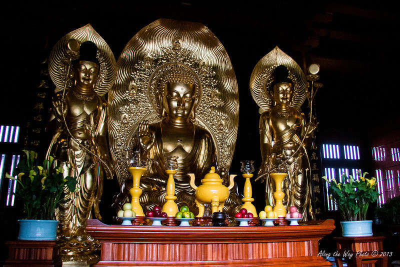 China-4052<br /> Buddha statutes in the Hall of Celestial Kings in the Chi Lin Nunnery Complex in Kowloon, Hong Kong.