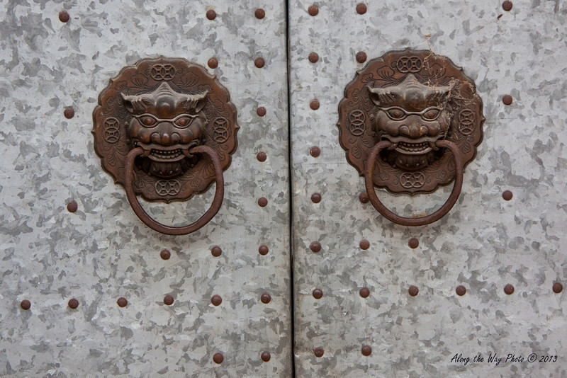 China-3570<br /> Door handles on a building in Nanping.