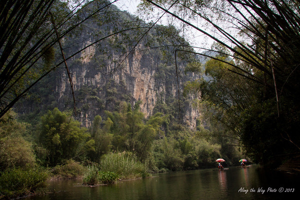 China-2421<br /> Yulong River with Bamboo hanging over it as we raft down the river on bamboo rafts.