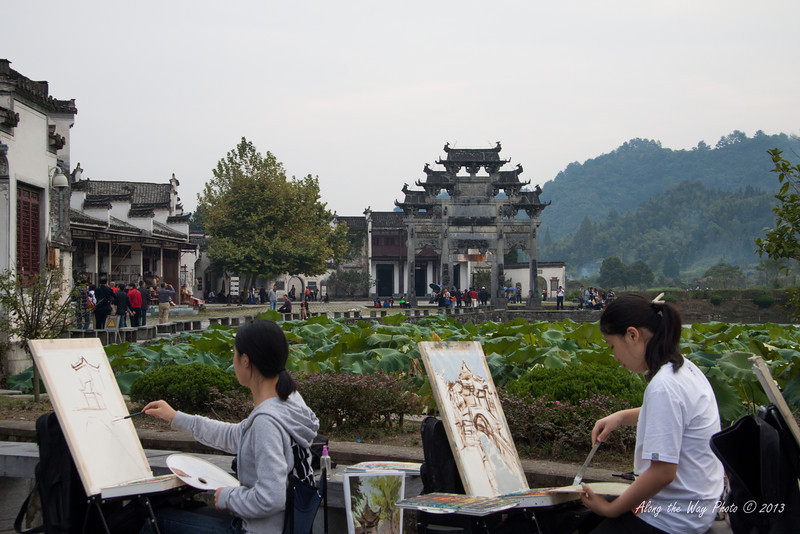 China-3464<br /> Xidi Village built 1049 to 1053 in the Song Dynasty.  Has 124 preserved wooden residences from the Ming and Qing Dynasties. Favorite destination for student Artists.