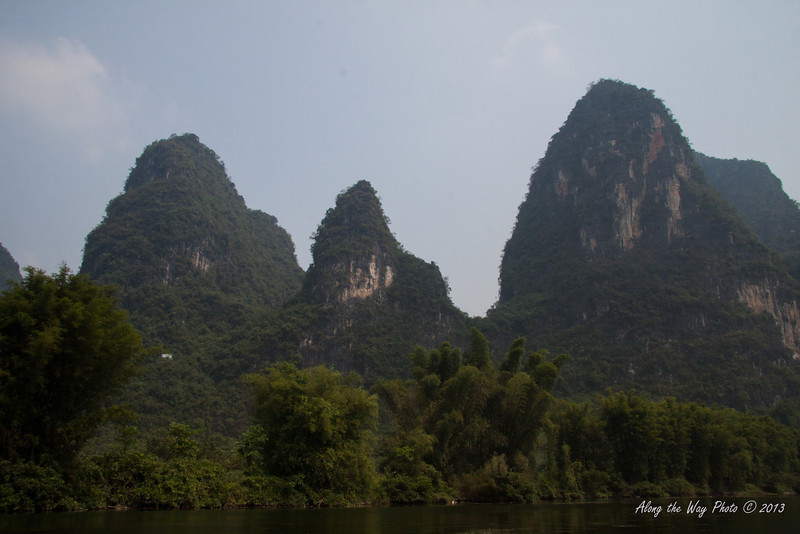 China-2384<br /> Mountain Rocks, Karst formations, from the Yulong River, a tributary of the Li river.