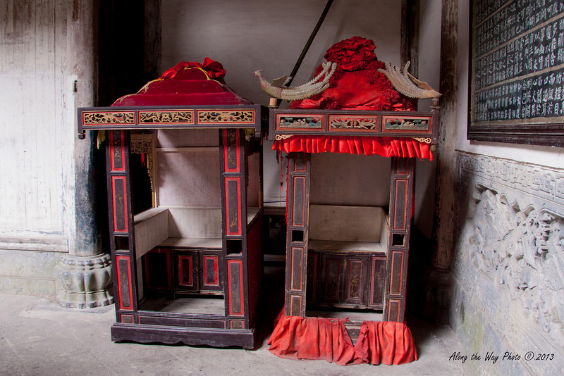 China-3536<br /> Marriage chairs in Xidi Village. Bride and Groom would take their place in the chairs as part of the ceremony.