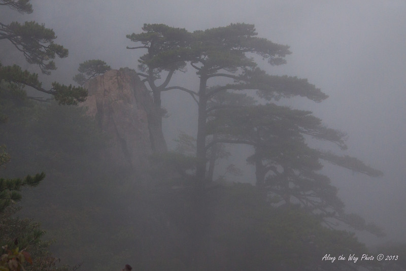 China-3758<br /> Huangshan Mountain range is in Eastern China. Mountain peaks will reach 3250 feet with clouds below the peaks more then 200 days a year. Huangshan is Yellow in mandarin, so the Mountains are commonly referred to as the Yellow Mountains.