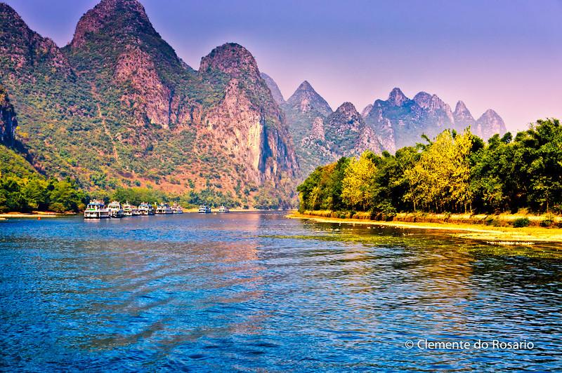 Cruise Boats on Li River, cruising from Guilin to Yangshuo, China