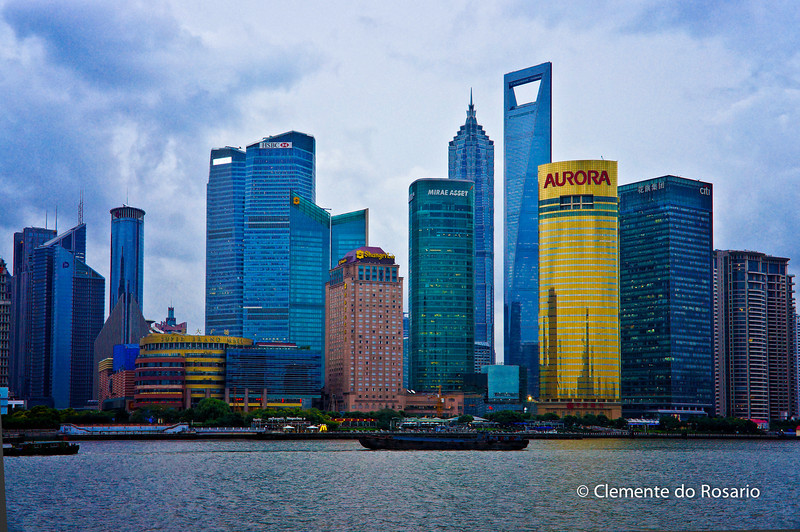 Shanghai's Pudong district Skyline from the Bund, China