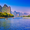 Cruising along the Li River from Guilin to Yangshuo