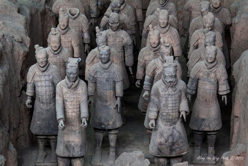China-2047<br /> Pit #1 contains the main army with over 6,000 warriors in addition to horses in it. The army was in formation with life size figures that vary in height, uniform and hair style in accordance to rank. Pit #2 has the Cavalry and infantry, Pit #3 has the command unit for the army and Pit #4 is presently being excavated.