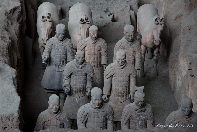 China-2043<br /> Pit #1 contains the main army with over 6,000 warriors in addition to horses in it. The army was in formation with life size figures that vary in height, uniform and hair style in accordance to rank. Pit #2 has the Cavalry and infantry, Pit #3 has the command unit for the army and Pit #4 is presently being excavated.