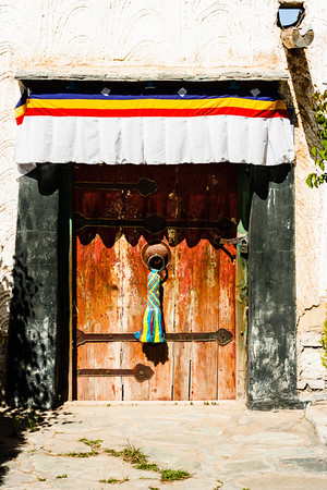 Traditional Tibetan doorway.