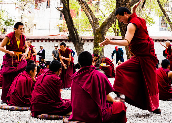 Monks debate Buddhist teachings and tenants in the Gelukpa tradition with hand gestures, clapping, and slapping that are distinct to Sera Monastery. The defender (seated) must defend his position in the presence of his teacher (standing).