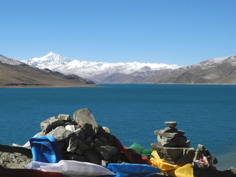 More flags, lovely view. Lamdrok Lake & Mt Everest.