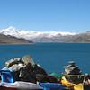 More flags, lovely view. Lamdrok Lake & Mt Everest.