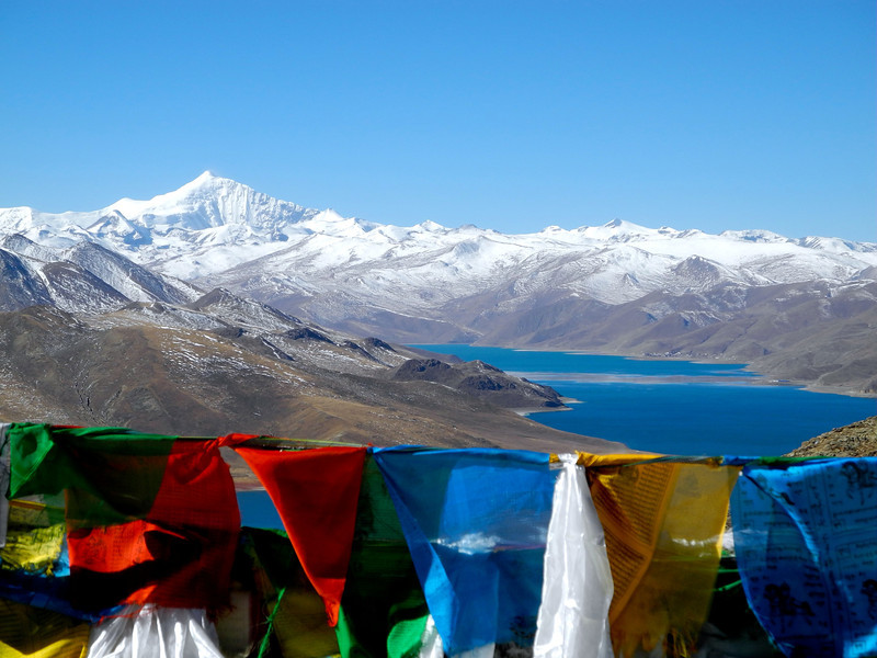 Prayer flags are put anyplace the wind can carry the the prayers. Mt Everest again.