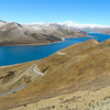 Lamdrok Lake has the clearest skies we have seen in a LONG time. We travelled this huge lake for 2.5 hours to just get to the end of it. Mt Everest is the large peak in the background, 170 km away. Super clean air here at 16,000 ft