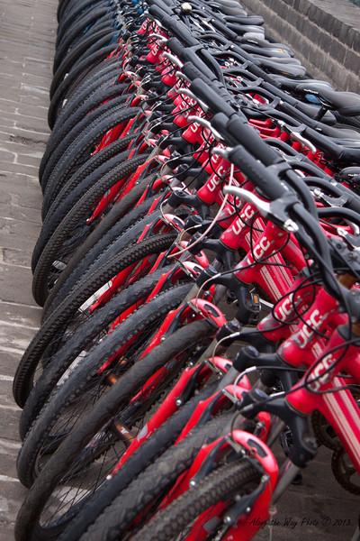 China-2070<br /> Rental bikes on the City Wall in Xian Xian.
