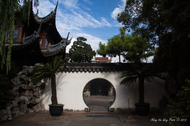 China-2967<br /> Entrance to the Yu Yuan Garden in Shanghai, China. Is part of the Old town of Shanghai. Also includes the Yu Yuan Bazaar. Gardens were founded in the mid 1500's.