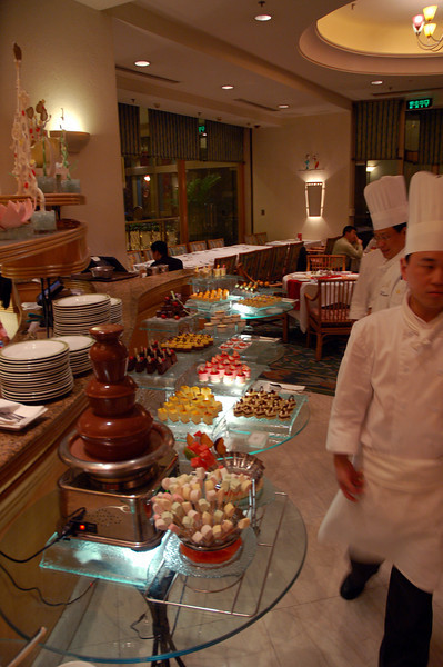 The sweet part of the buffet. Marshmallows and chocalate fountain in the foreground