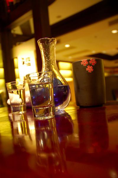 A carafe of sake at the Ozeki Tokyo Cuisine
