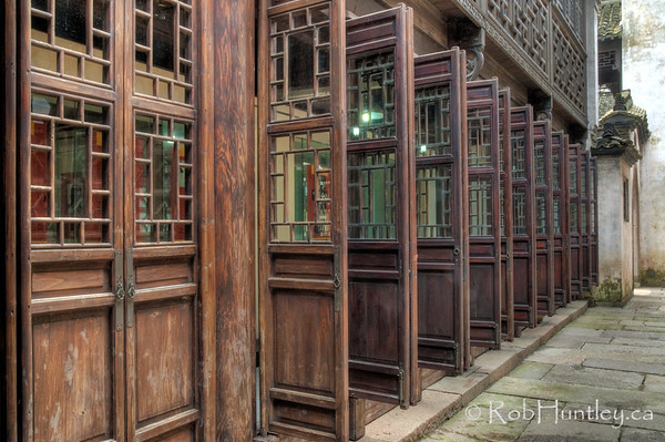 Open and closed doors - street scene in Wuzhen, China.