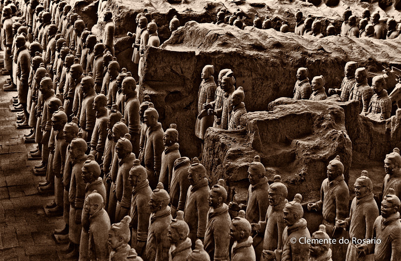 Terra Cotta Warriors, life sized army defending the first emperor of China, Qin Shi Huang, Xian