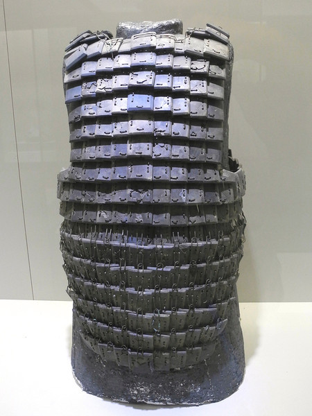 Ancient bronze armour, sewn together