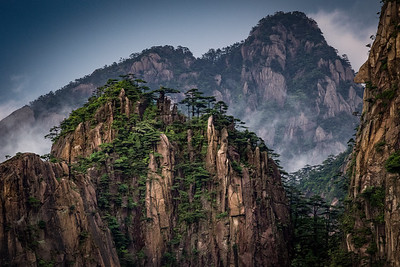 The fog lifts at Huangshan (Yellow Mountain), China - revealing limestone spires and pine trees.