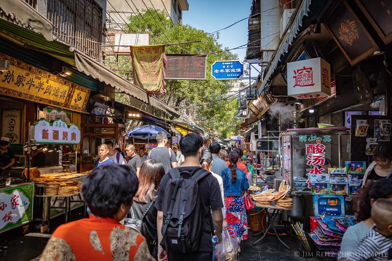 Market street in the Muslim Quarter of Xian, China.