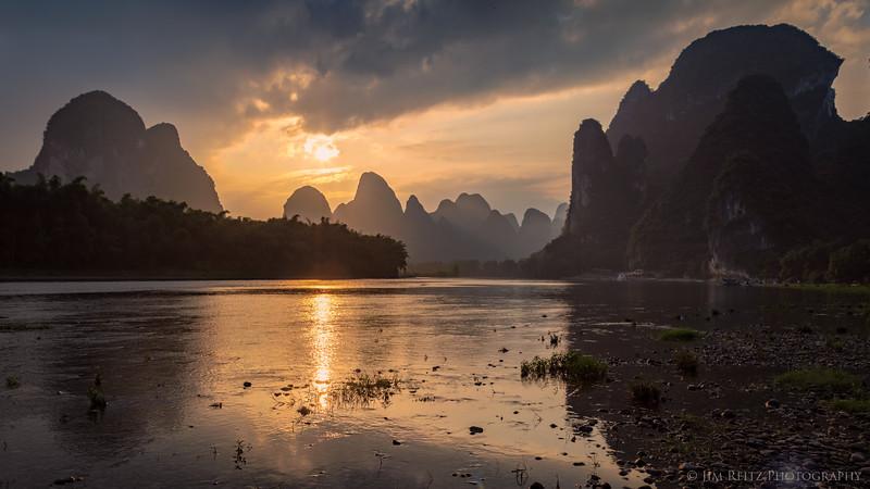 Sunset along the Li River near Guilin, China.