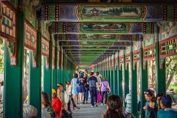 "The ""Long Corridor"", at Beijing's Summer Palace. Almost a half-mile long - with 14,000 individually-painted beams."