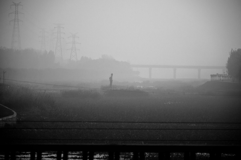 Early morning mist as we head out of Beijing to the Great Wall.
