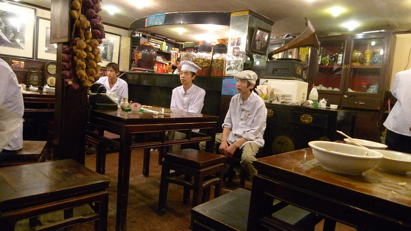 Staff rest after a long day in the restaurant.